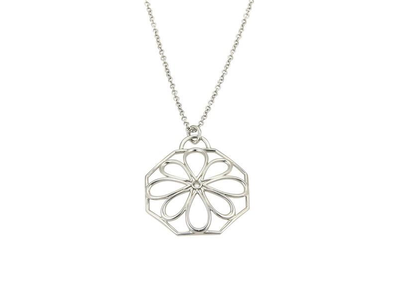 Tiffany co italy 18k white gold 002ct diamond flower pendant italy 18k white gold 002ct diamond flower pendant necklace aloadofball Gallery