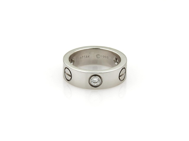 Cartier Love 18K White Gold with 3 Diamond Band Ring Size 4