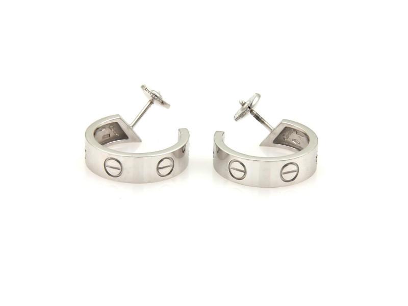 Cartier Love 18K White Gold Medium Size 6mm Wide Hoop Earrings