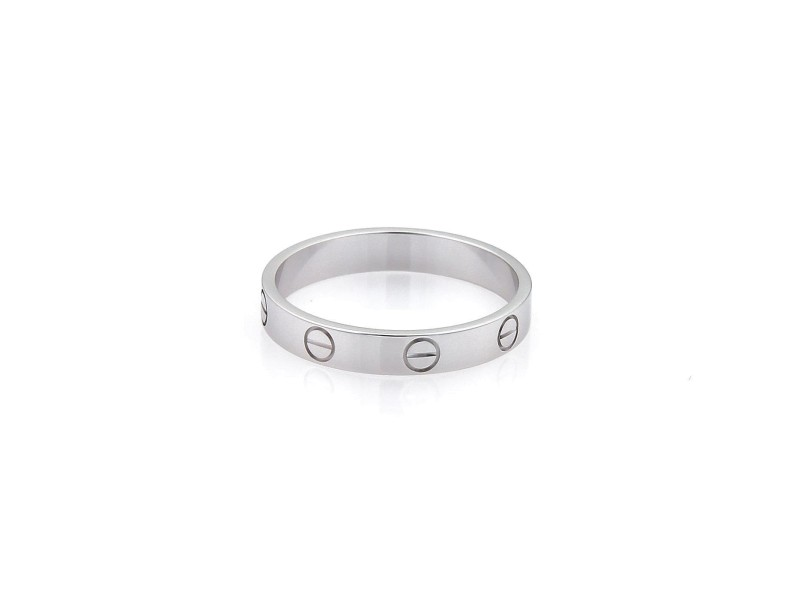 Cartier 18K White Gold Mini Love Wide Band Ring Size 8.75