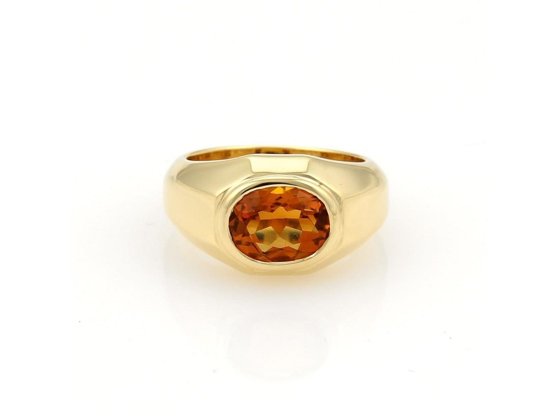 Bulgari 18K Yellow Gold with 2ct Oval Citrine Solitaire Ring Size 5.5