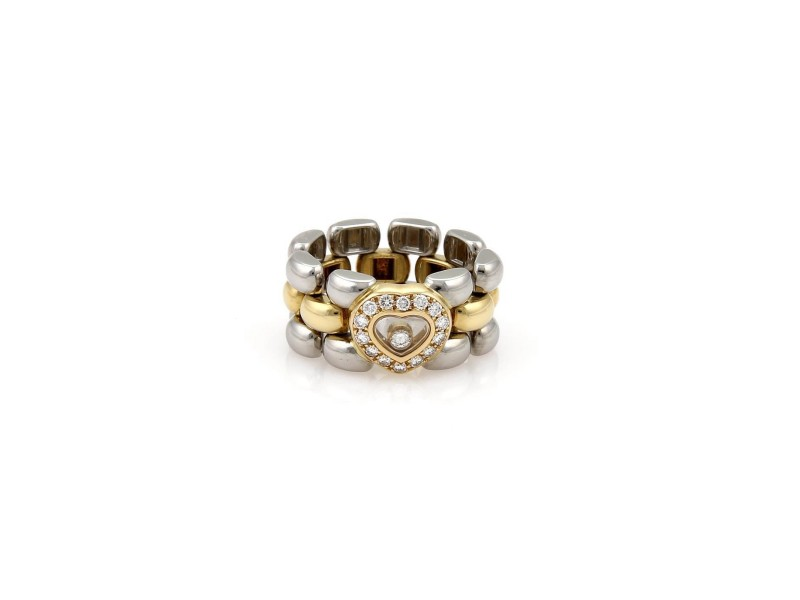 Chopard Happy Diamond 18K Yellow Gold and Stainless Steel with 0.25ct Diamonds Panther Link Chain Band Ring Size 5