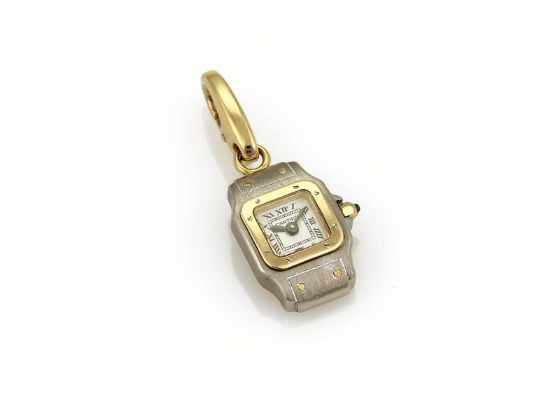Cartier Santos 18K Yellow Gold & Stainless Steel Watch Charm Pendant