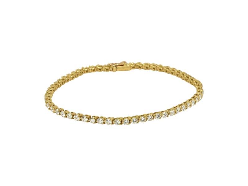 Cartier 3.02ct Diamond 18K Yellow Gold Tennis Bracelet