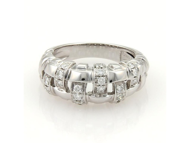 Tiffany & Co. Vannerie 18K White Gold & 0.36ctw. Diamond Basket Weave Band Ring Size 9