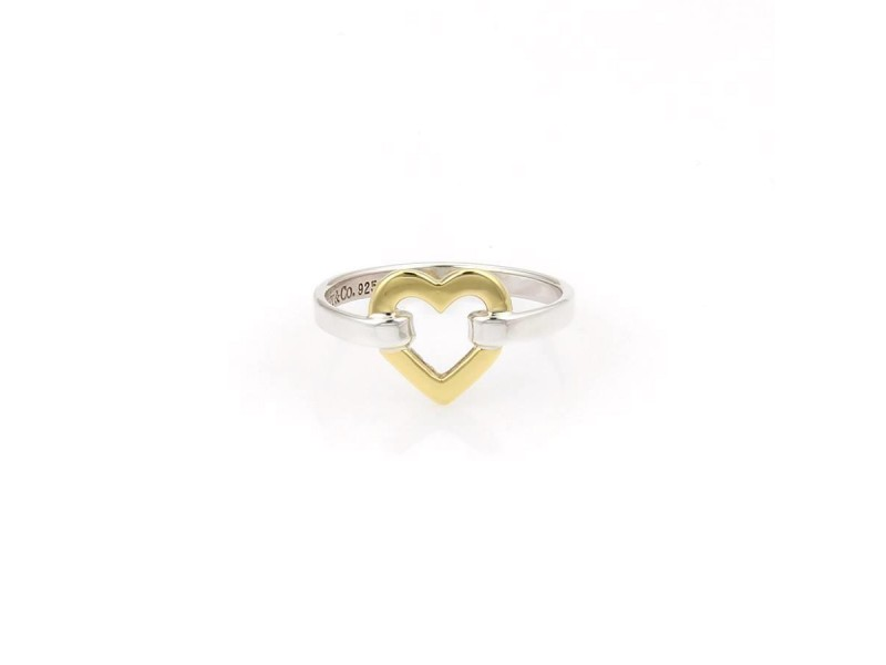 Tiffany & Co. 925 Sterling Silver & 18K Yellow Gold Open Heart Ring Size 5