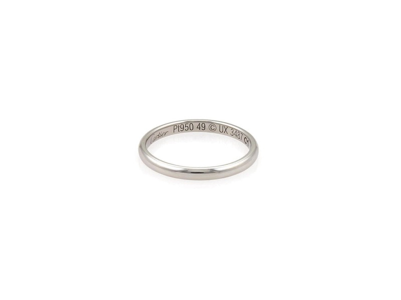 Cartier 2mm Wide Dome Wedding Band Ring Platinum Size 5