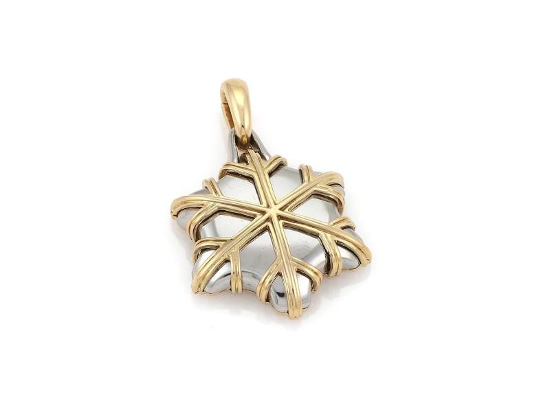 Bulgari 18K Yellow Gold & Stainless Steel Snowflake Pendant