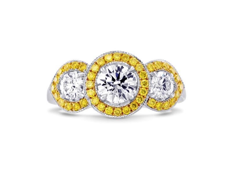 Leibish 18K White and Yellow Gold White and Yellow Diamond 3 Stone Ring Size 6