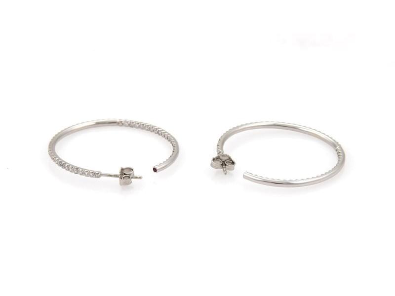 4daa98896 Roberto Coin 1.25ct Diamonds 18k White Gold Inside Out Medium Hoop Earrings