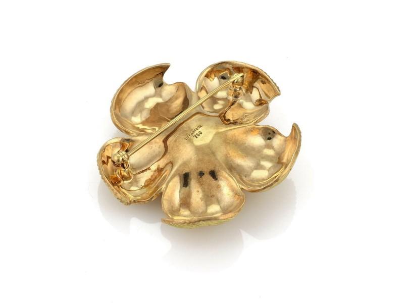 cfaa0d78b2413 Tiffany & Co. 18k Yellow Gold Dogwood Large Flower Brooch Pin