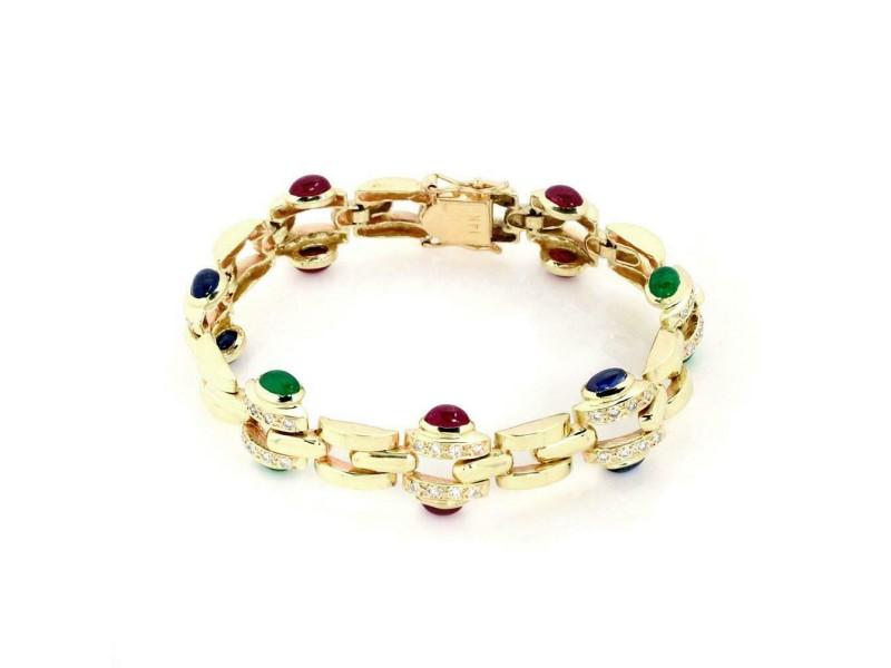 Classic 14k Yellow Gold 6.70ct Diamond Ruby Sapphire Emerald Link Bracelet