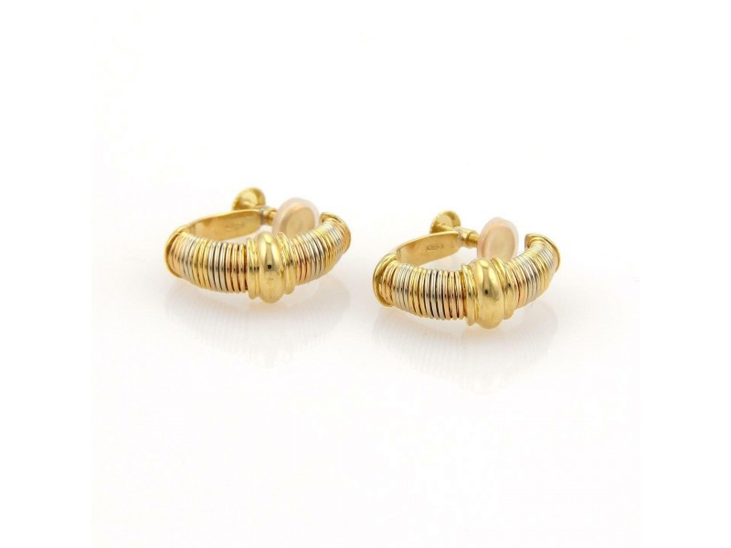 Cartier AURORE 18k Tri-Color Gold Wire Wrap Screw Back Hoop Earrings