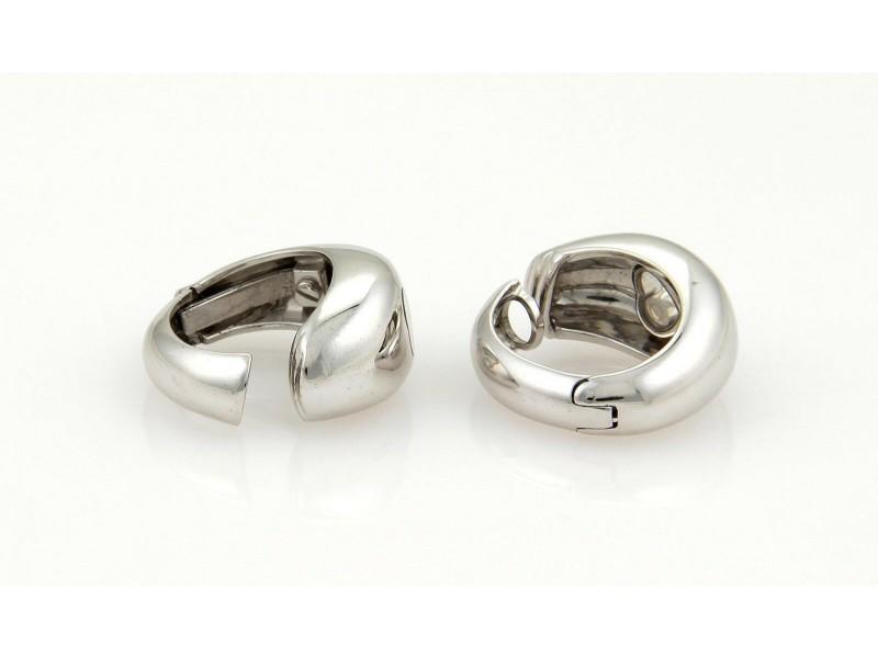 Chopard Happy Diamonds 18k White Gold Heart Hoop Earrings