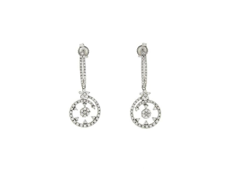 Roberto Coin Diamond Drop Earrings in 18K White Gold