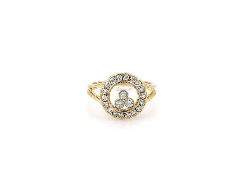 57962 Chopard Happy Diamond 18k Yellow Gold Round Floating Diamond Bezel Ring