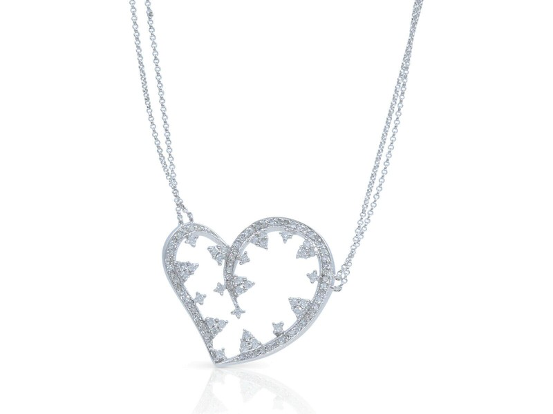 Diamond Heart Ladies Necklace Pendant On A Chain in 14K White Gold 1.50 Cttw