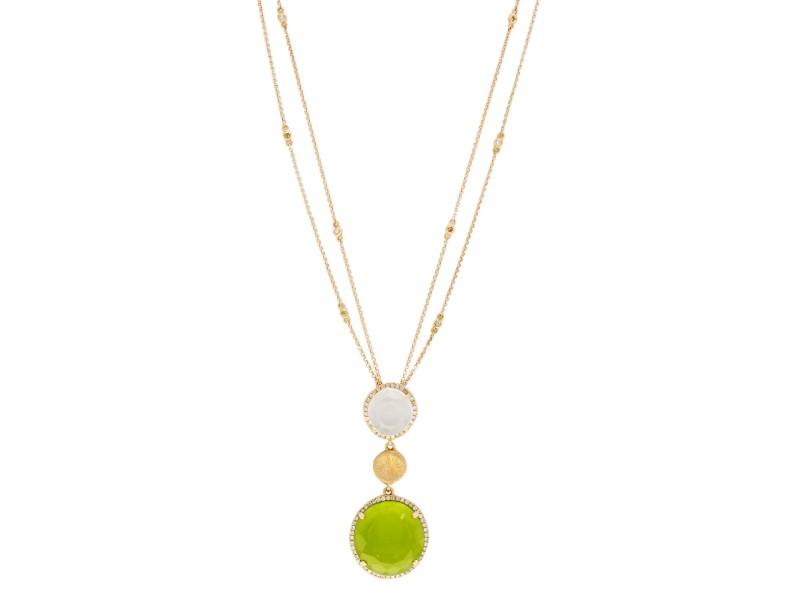 Rachel Koen Rose Gold Color Stone Drop Pendant Necklace 14K Rose Gold