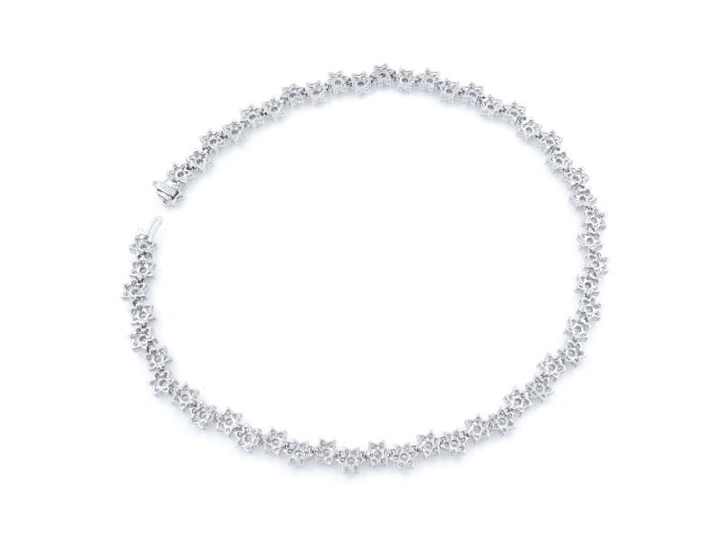 Rachel Koen Floral Motif Diamond Cascade Necklace in White Gold 20.35cts
