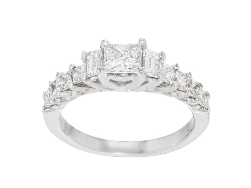 Rachel Koen 18K Gold Princess Baguette Cut Diamonds Ring 1.25Cttw 4g Size 7