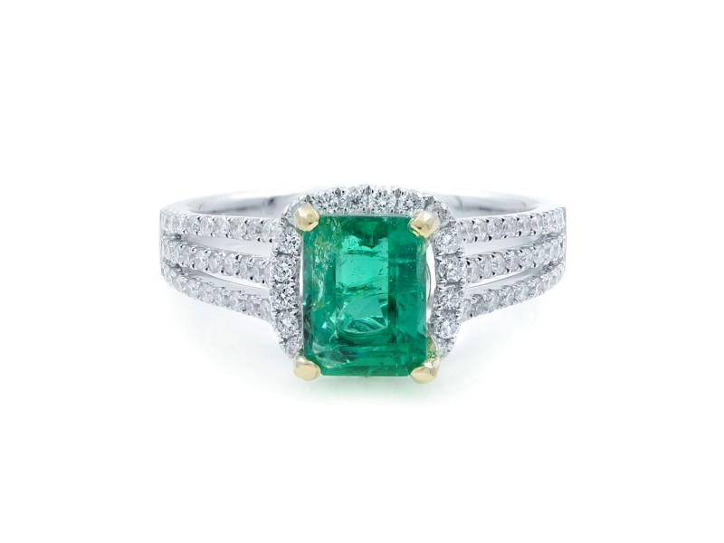 Rachel Koen GREEN Emerald Halo Engagement Ring White Gold Diamonds Size 6.75