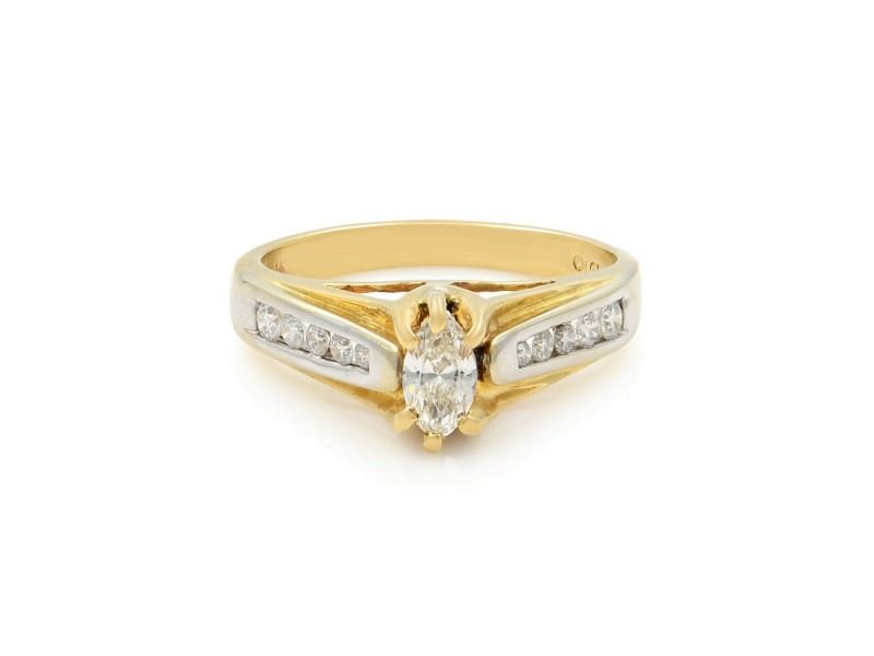 14K Yellow White Gold Diamond Marquise Womens Engagement Ring 0.80 Cttw