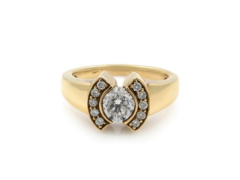 Rachel Koen 14K Yellow Gold Diamond Womens Cocktail Ring 1.00 Cttw Size 7
