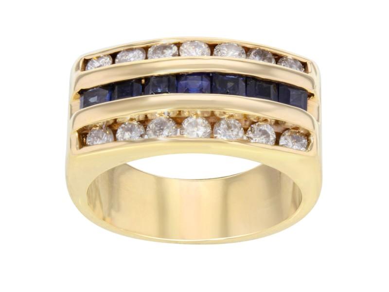 Rachel Koen Three Row Diamond Sapphire Yellow Gold Band