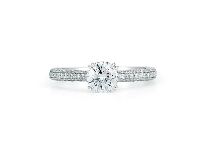 Round Cut Solitaire Triple Pave Diamond Engagement Ladies Ring Platinum 2.25cts