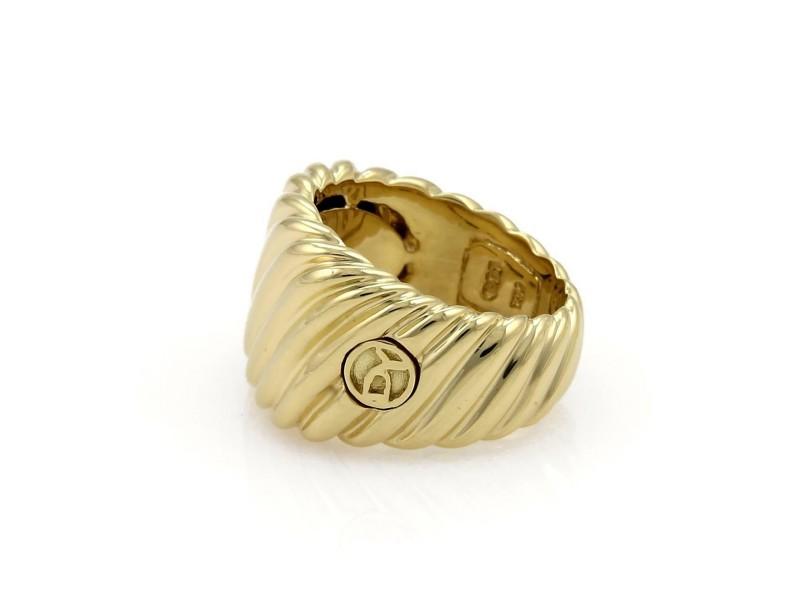 59080 David Yurman 18k Yellow Gold Wide Cigar Band Cable Ring Size - 5.5