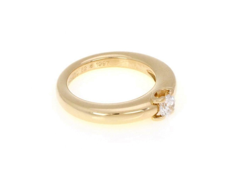 Cartier Solitaire Diamond 18k Yellow Gold Dome Band Ring Size 52-US 6