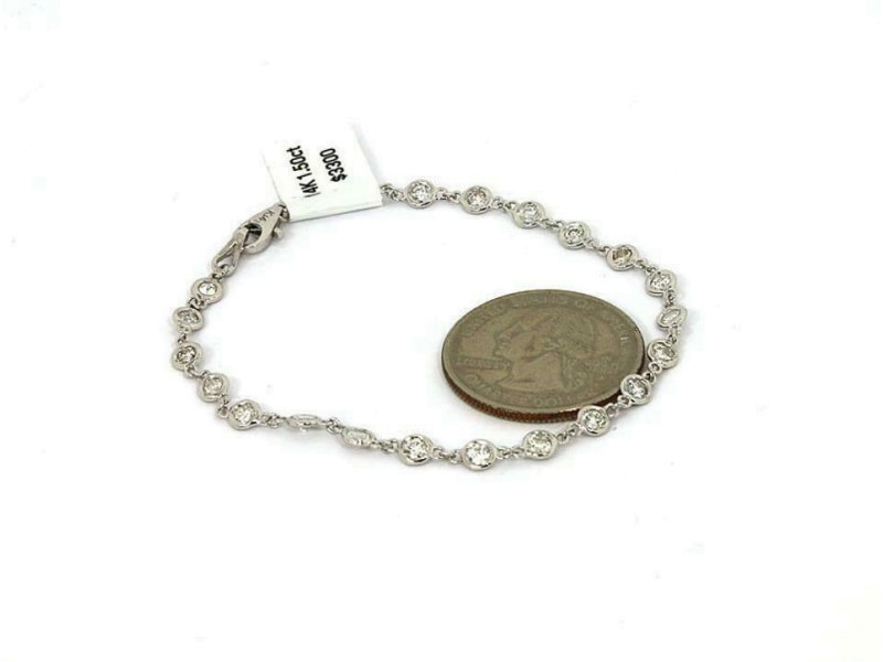 New 1.50ct Diamond By The Yard 14k White Gold Bezel Link Bracelet