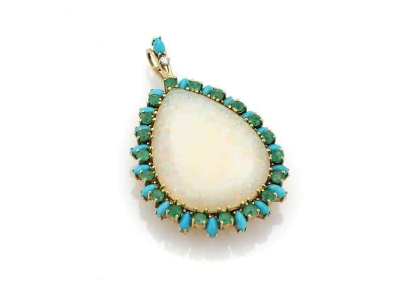 Estate 62.55 Carats Opal Emerald Diamond & Turquoise Large 18k Gold Pendant