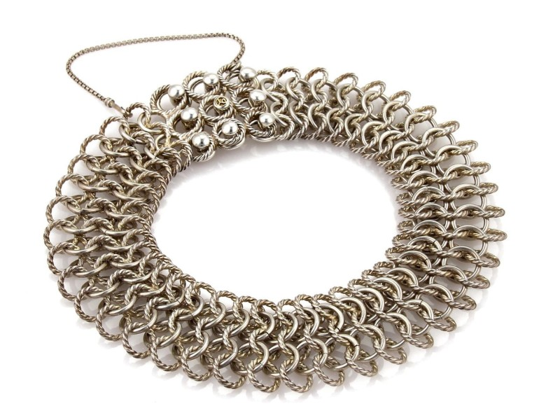 David Yurman Sterling Silver 18k Gold Multi Cable Ring Wide Choker Necklace
