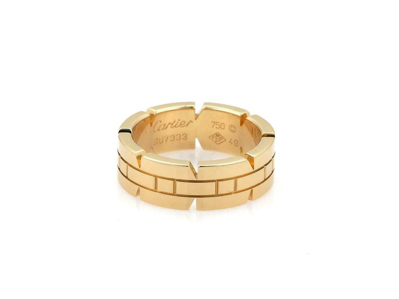 Cartier Tank Francaise 18k Yellow Gold 6mm Wide Band Ring Size 49-US 5 Cert