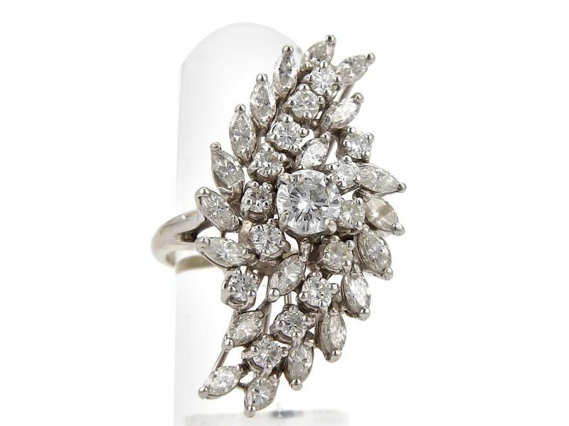 Vintage 3.20ct Diamond 14k White Gold Long Cluster Ring Size 5.5