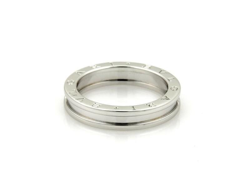 Bvlgari Bulgari B Zero-1 Single 18k White Gold 5mm Band Ring Size EU 54