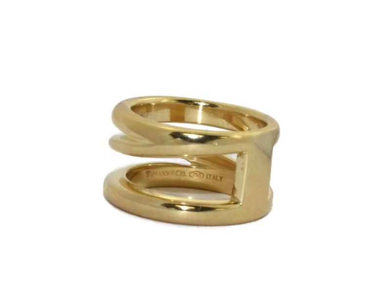 Tiffany & Co. Italy 18k Yellow Gold Fancy Wide Open Band Ring Size - 5