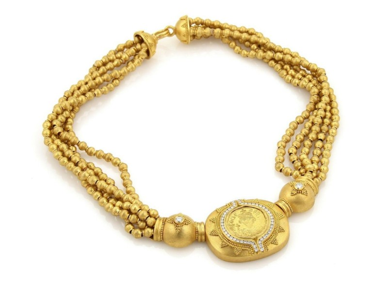 Hilat Diamond 24k Gold Ancient Inspired Handcrafted Multistrand Necklace