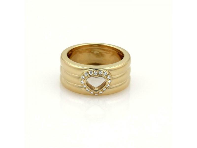 Chopard Diamond 18k Yellow Gold 8.5mm Wide Heart Band Ring Size 5.5