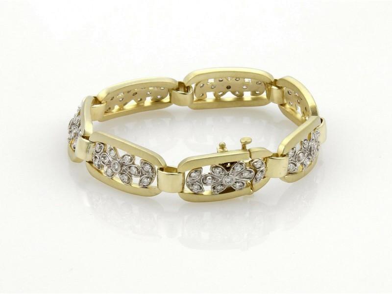 Vintage 2ct Diamond 14k Two Tone Gold Fancy Floral Long Link Bracelet