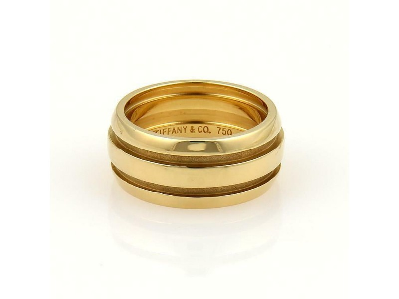 Tiffany & Co. ATLAS 18k Yellow Gold 9mm Wide Grooved Dome Band Ring Size 5
