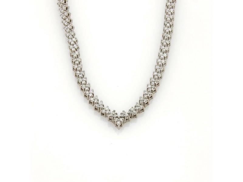 """Estate 7.5ct Diamonds 14k White Gold Fancy Leaf Link """"V"""" Tennis Necklace"""