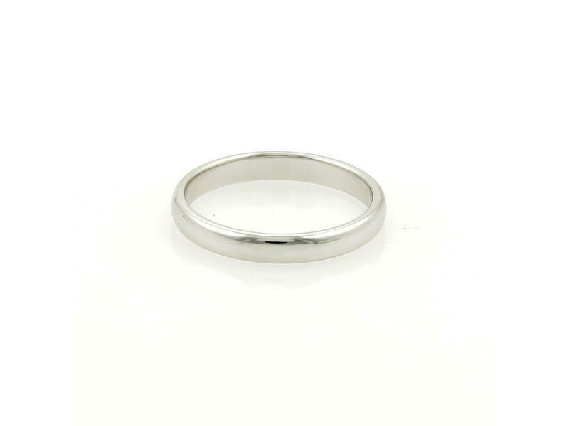 Tiffany & Co. Platinum 3mm Wide Dome Wedding Band Ring Size 8