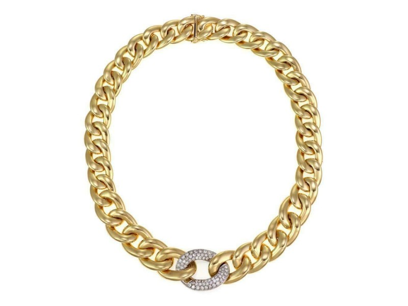 2543 - 18k Gold 1.00ct Diamond 17.5mm Wide Curb Link Collar Necklace 98g