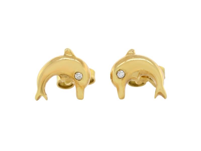 Rachel Koen 18K Yellow Gold Diamond Ladies Dolphin Earrings 0.20 Cttw