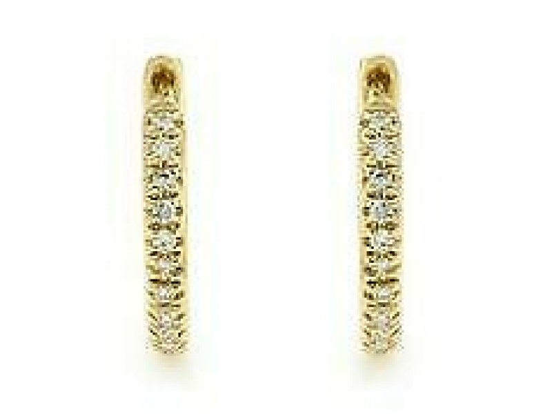 Rachel Koen 14K Yellow Gold Pave Diamond Huggie Earrings 0.07cttw