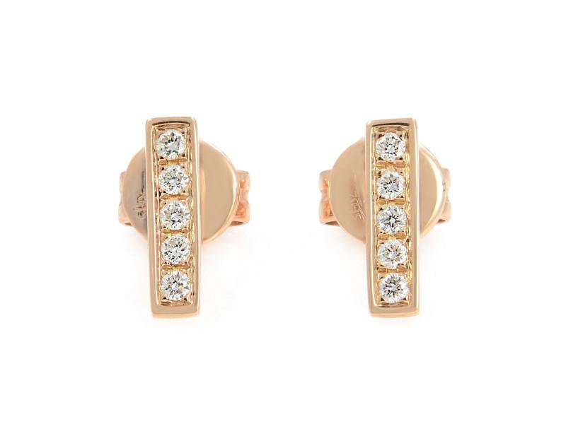Rachel Koen 14K Rose Gold Prong Diamond Bar Stud Earrings 0.08cttw
