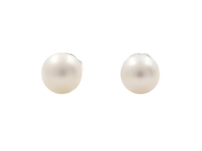 14K White Gold Natural Pearl Stud Earrings 5mm