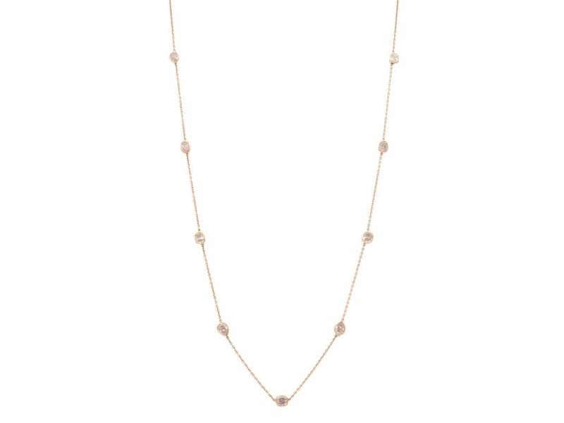 Rachel Koen 14K Rose Gold Diamond By The Yard Necklace 2.78cts